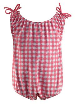 Baby girls gingham beach onesie