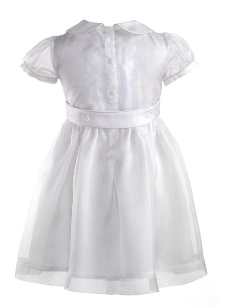 Rachel Riley Girls silk organza pintuck dress