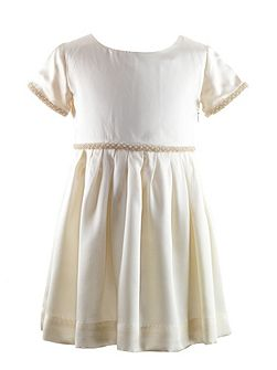 Girls bead trim silk occasion dress