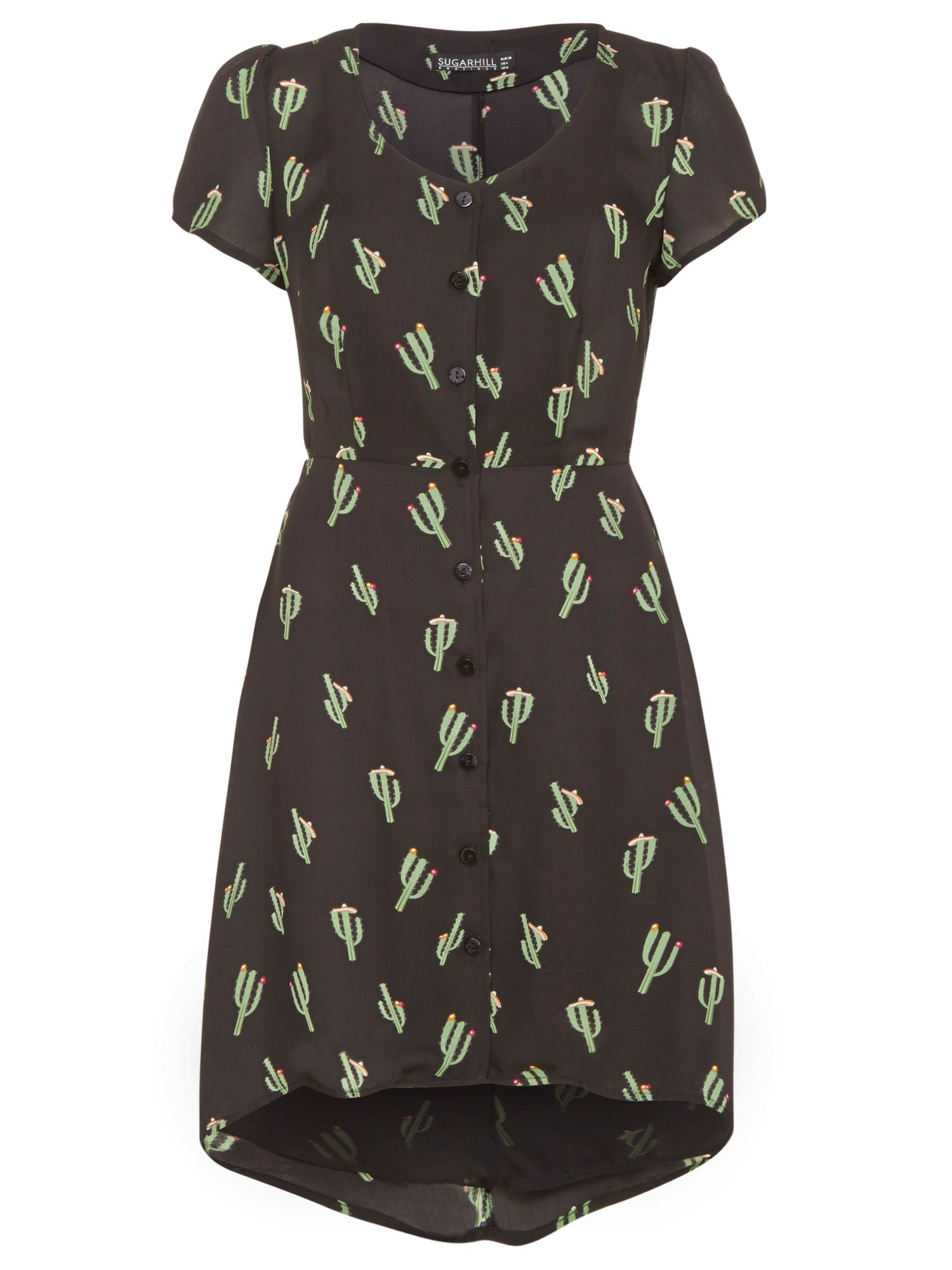 Cactus print drop back dress