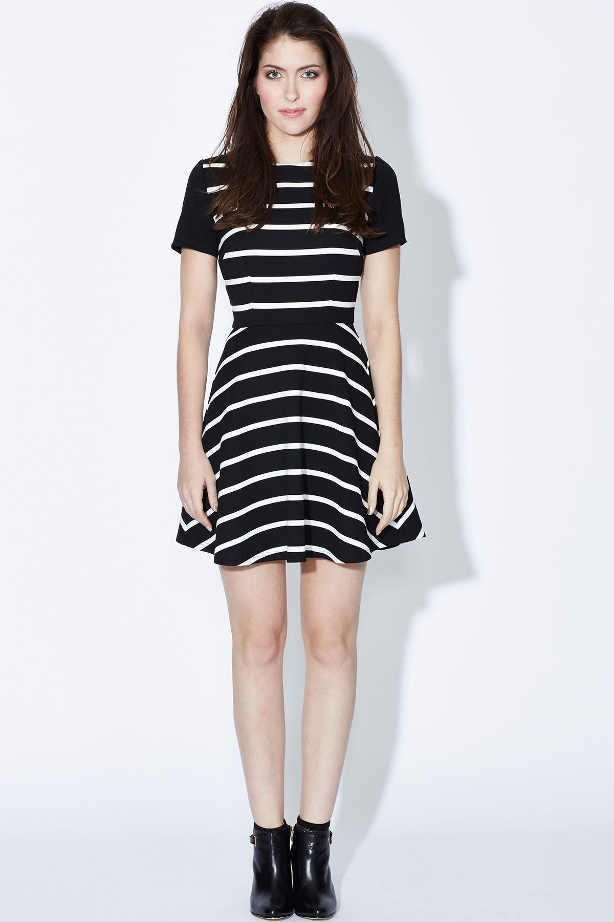 Stripy Fit and Flare Dress