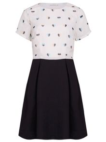 Heart Print Fit and Flare Dress