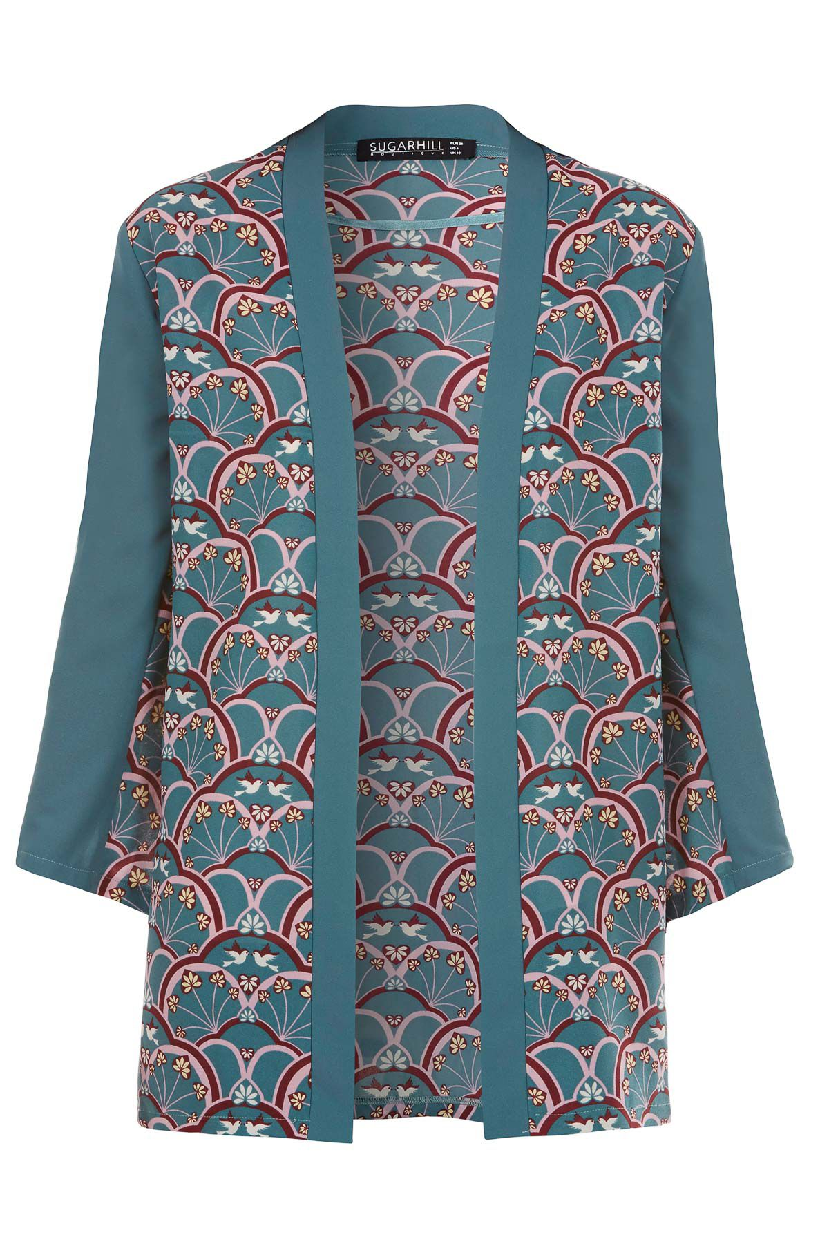 Sugarhill Boutique Deco Bird Kimono Green £30.00 AT vintagedancer.com