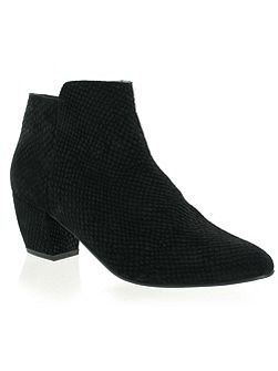 Snake leather ankle boot