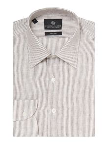 Chester Barrie Stripe Tailored Long Sleeve Classic Collar Shirt