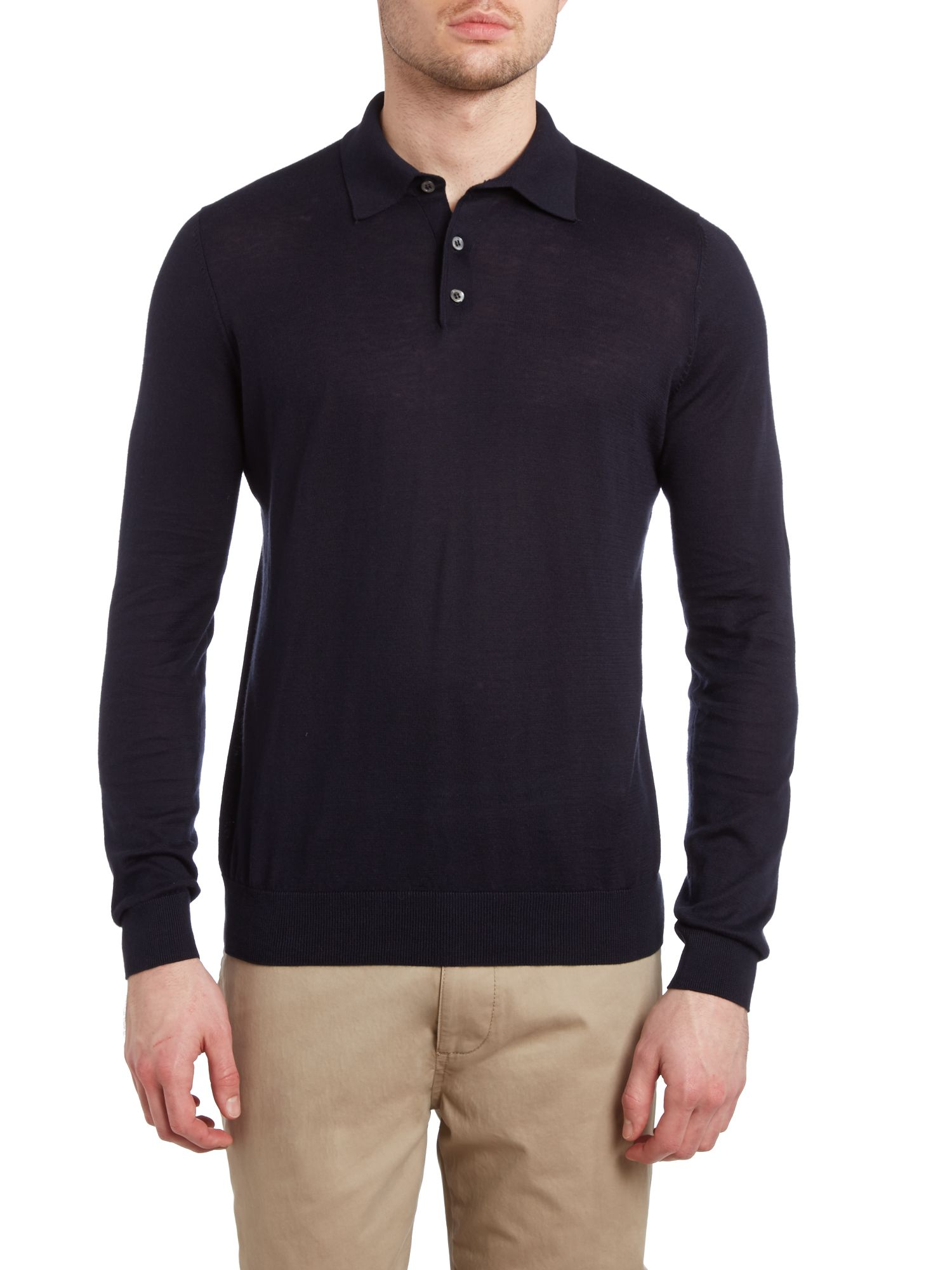 Pima long sleeve polo