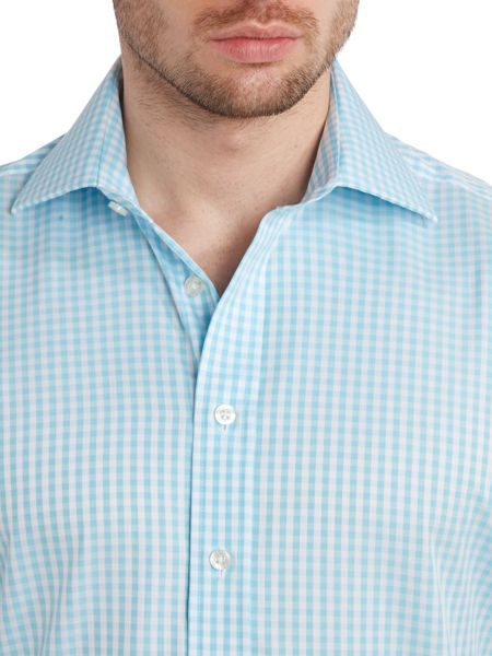 Chester Barrie Herringbone check long sleeve shirt