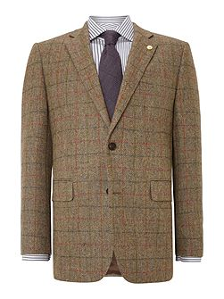 Check Notch Collar Tailored Fit Formal Blazer