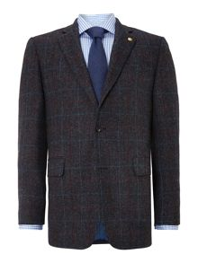 Chester Barrie Check Notch Collar Tailored Fit Formal Blazer