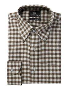 Chester Barrie Button-down gingham flannel shirt