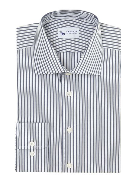 Chester Barrie Striped Tailored Fit Long Sleeve Formal Shirt