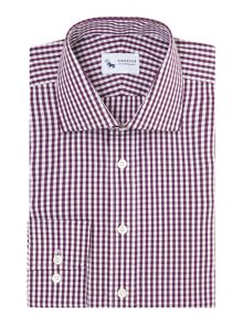 Gingham Tailored Fit Long Sleeve Formal Shirt