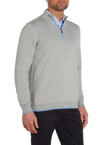 Plain Half Zip Neck Zip Fastening Jumper