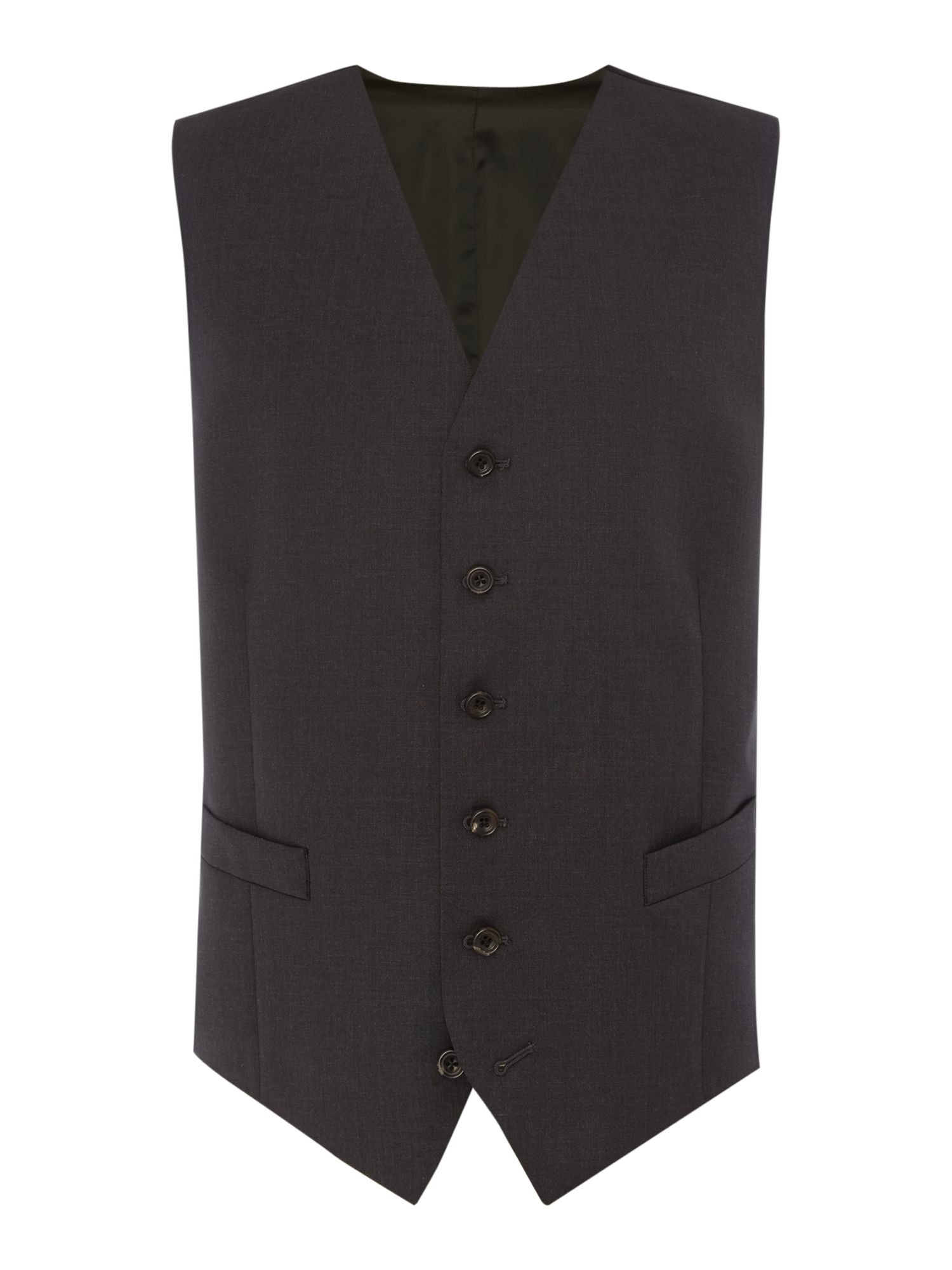 Men's Chester Barrie Plain Tailored Fit Waistcoat, Charcoal