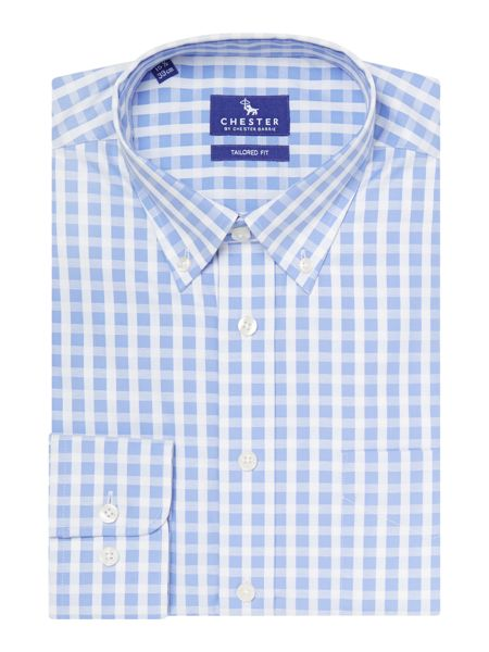 Chester Barrie Check Tailored Fit Long Sleeve Button Down Shirt