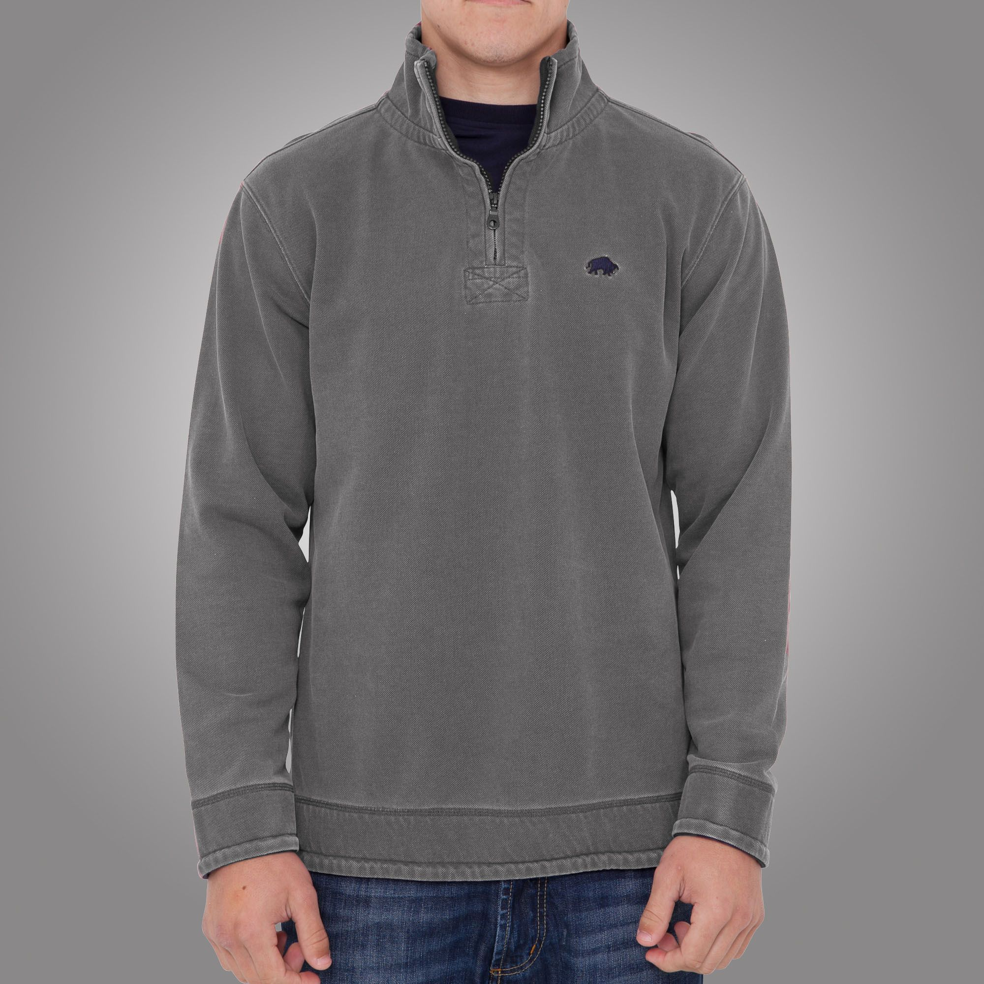 Plain 1/4 zip top grey