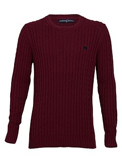 Cable knit sweater claret
