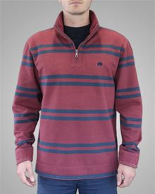Raging Bull Strawberry/navy stripe 1/4 zip top