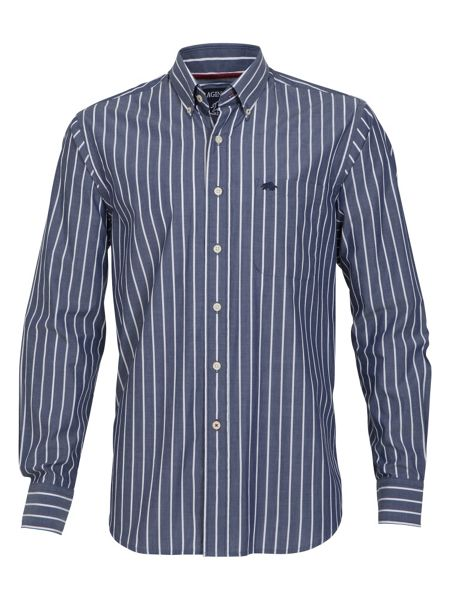 Raging Bull Big and tall navy medium stripe shirt