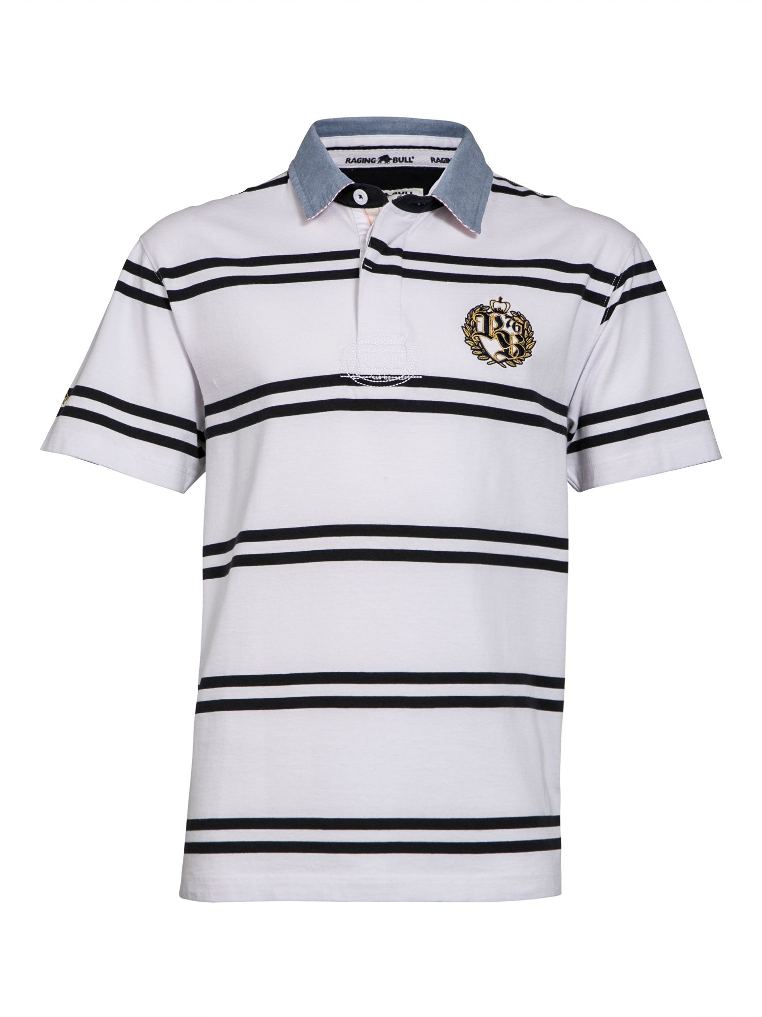 Men's Raging Bull Big & Tall Double Stripe Crest Rugby Shirt, White