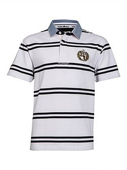 Big And Tall Double Stripe Crest Rugby Shirt