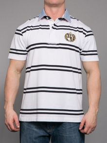 Raging Bull Big And Tall Double Stripe Crest Rugby Shirt