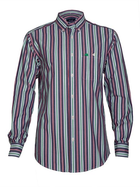 Raging Bull Red/green/navy stripe shirt