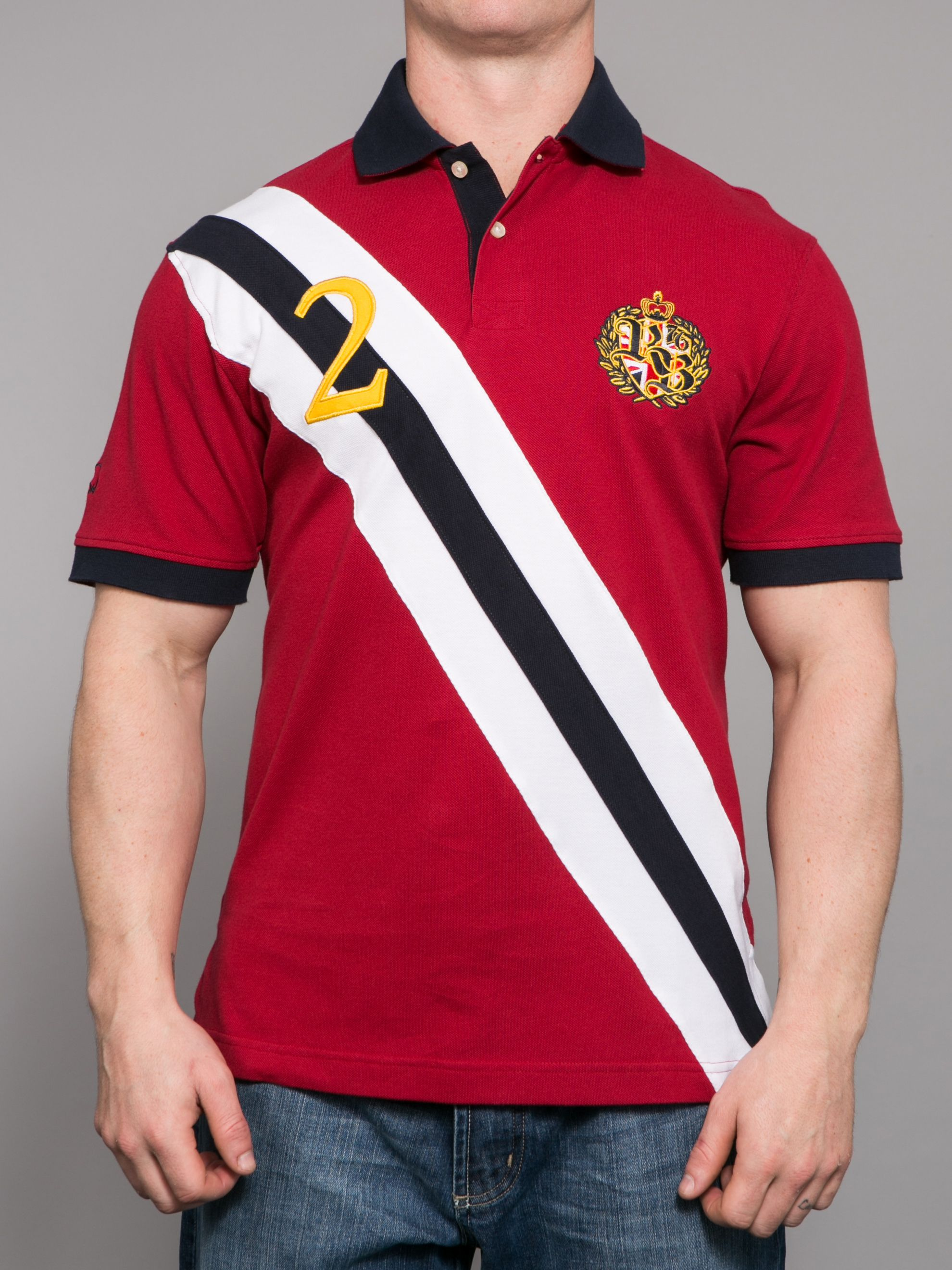 Diagonal stripe embellished polo shirt