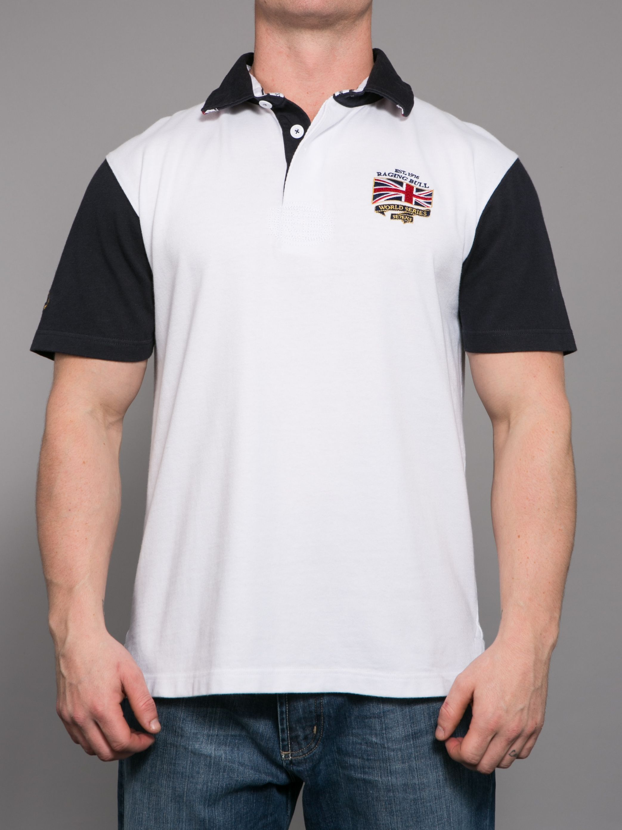 Big and Tall Union Jack embellished rugby shirt