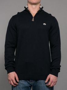 Raging Bull Knitted quarter zip neck hoodie