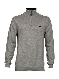Knitted quarter zip neck hoodie