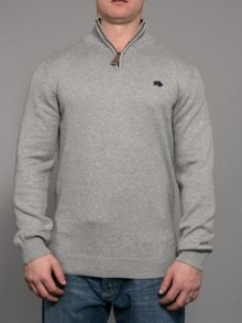 Big and Tall Knitted quarter zip neck hoodie