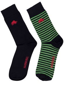 Navy/lime green socks 2pk