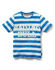 Raging Bull Boys striped graphic t-shirt