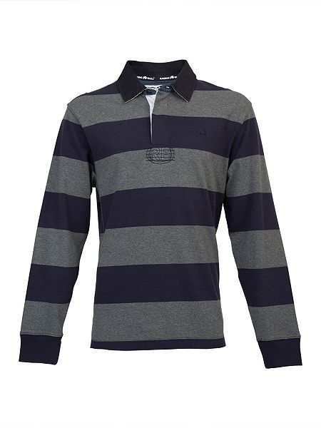 Raging bull big and tall hooped rugby shirt navy house for Big and tall polo rugby shirts