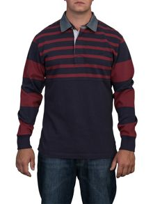 Raging Bull Big And Tall Contrast Sleeve Rugby Shirt