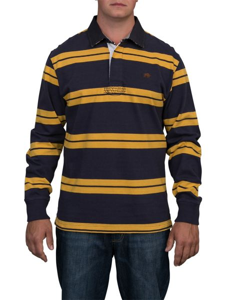 Raging Bull Big And Tall Double Stripe Rugby Shirt