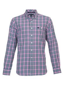 Long sleeve multi check shirt - red