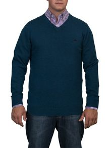 Big and tall v-neck cotton cashmere jumper