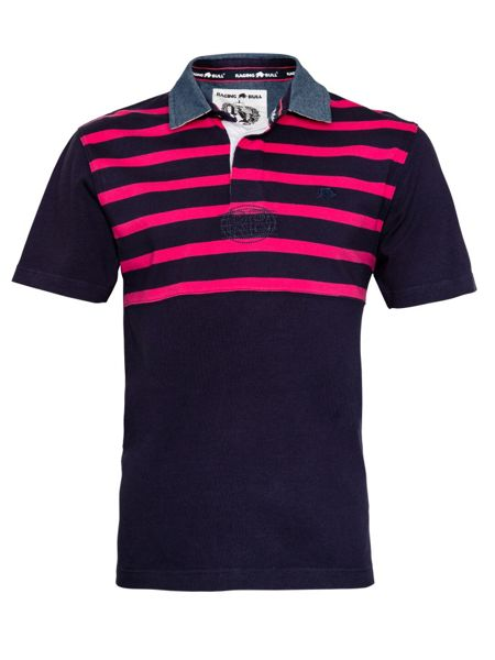 Raging Bull Stripe Regular Fit Short Sleeve Rugby Top