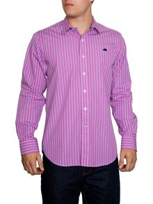 Raging Bull Varied Stripe Long Sleeve Classic Collar Shirt