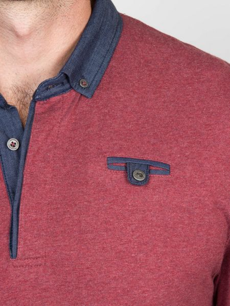 Raging Bull Chambray Collar Jersey Polo