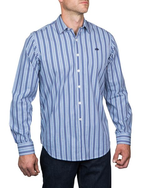 Raging Bull L/S Fine Stripe Shirt