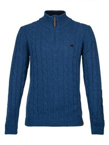 Raging Bull Cable-knit quarter zip