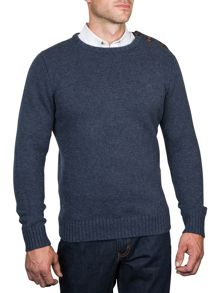 Button-up crew neck sweater