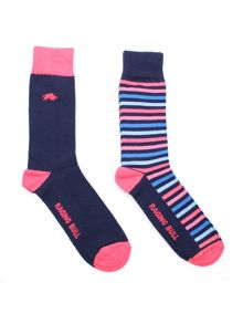 Raging Bull Cotton rich sock 2pk stripe/pink