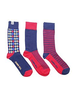 Cotton sock 3pk navy/red