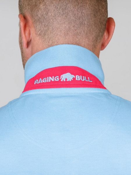 Raging Bull Pin Stripe Polo Sky