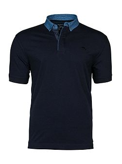 Polka dot collar polo