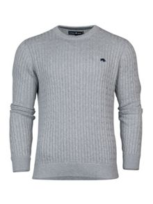 Raging Bull Crew Neck Cable Knit Sweater